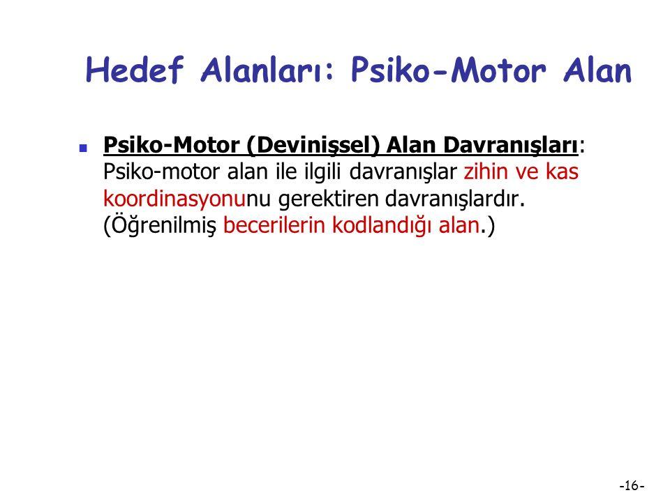 Hedef Alanları: Psiko-Motor Alan