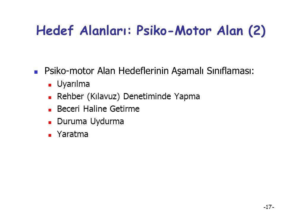 Hedef Alanları: Psiko-Motor Alan (2)