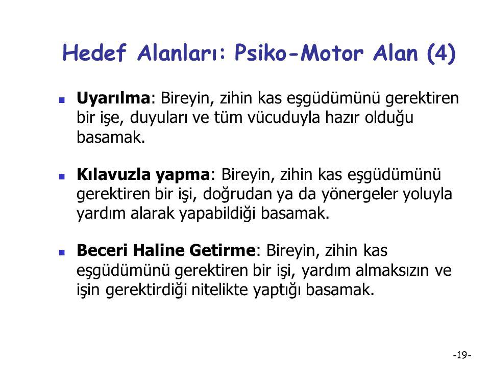 Hedef Alanları: Psiko-Motor Alan (4)