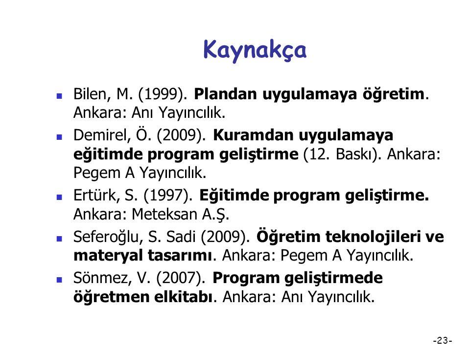 Kaynakça Bilen, M. (1999). Plandan uygulamaya öğretim. Ankara: Anı Yayıncılık.