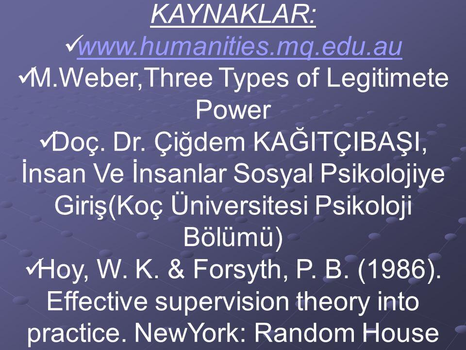 M.Weber,Three Types of Legitimete Power