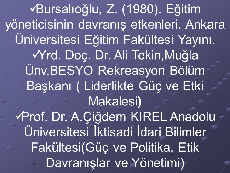 Bursalıoğlu, Z. (1980). Eğitim yöneticisinin davranış etkenleri