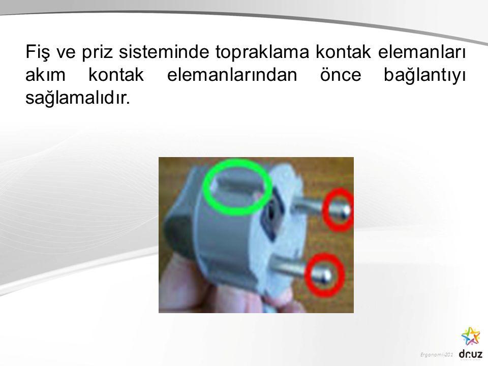 Fiş ve priz sisteminde topraklama kontak elemanları akım kontak elemanlarından önce bağlantıyı sağlamalıdır.