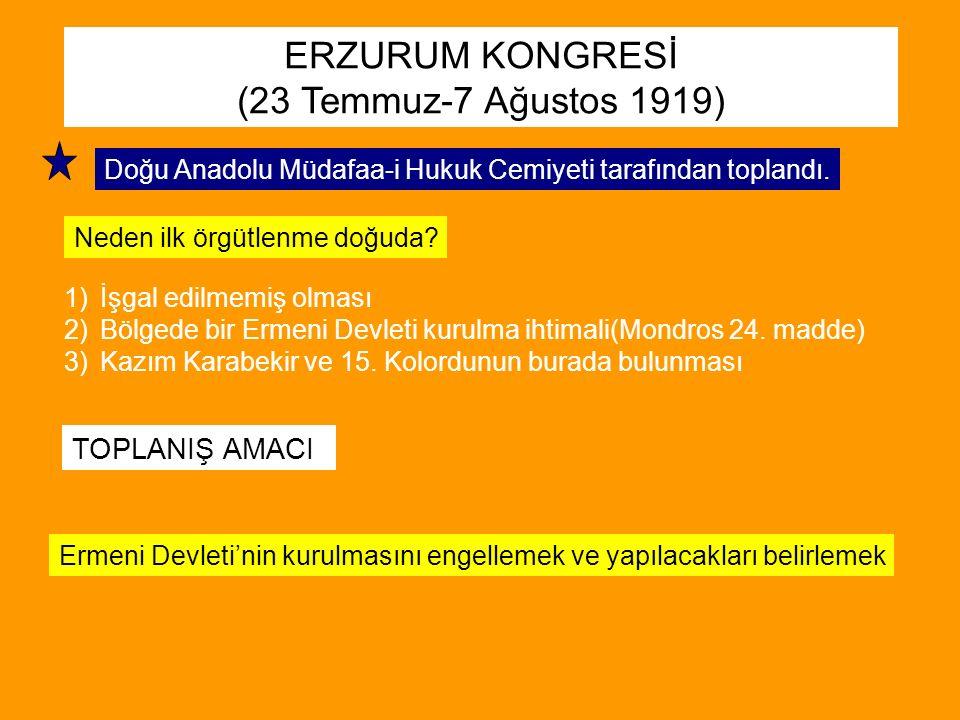 ERZURUM KONGRESİ (23 Temmuz-7 Ağustos 1919) TOPLANIŞ AMACI