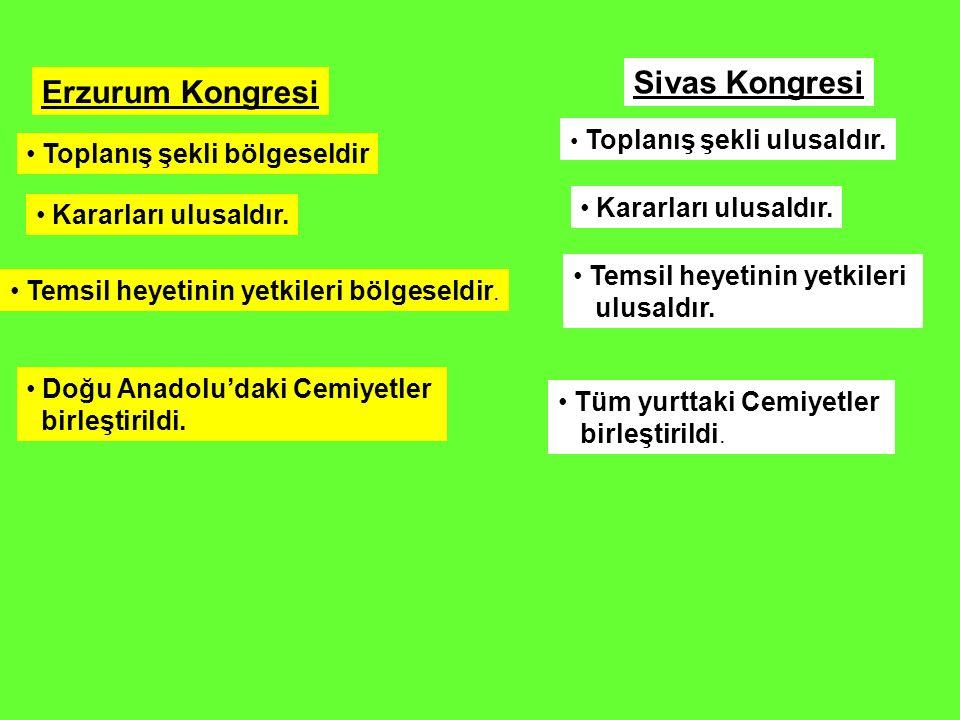 Sivas Kongresi Erzurum Kongresi Toplanış şekli bölgeseldir