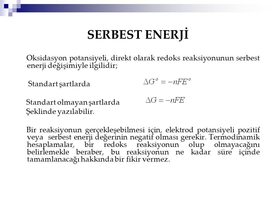 SERBEST ENERJİ Oksidasyon potansiyeli, direkt olarak redoks reaksiyonunun serbest enerji değişimiyle ilgilidir;