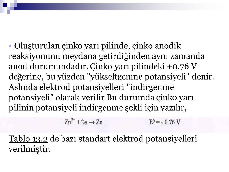 Tablo 13.2 de bazı standart elektrod potansiyelleri verilmiştir.