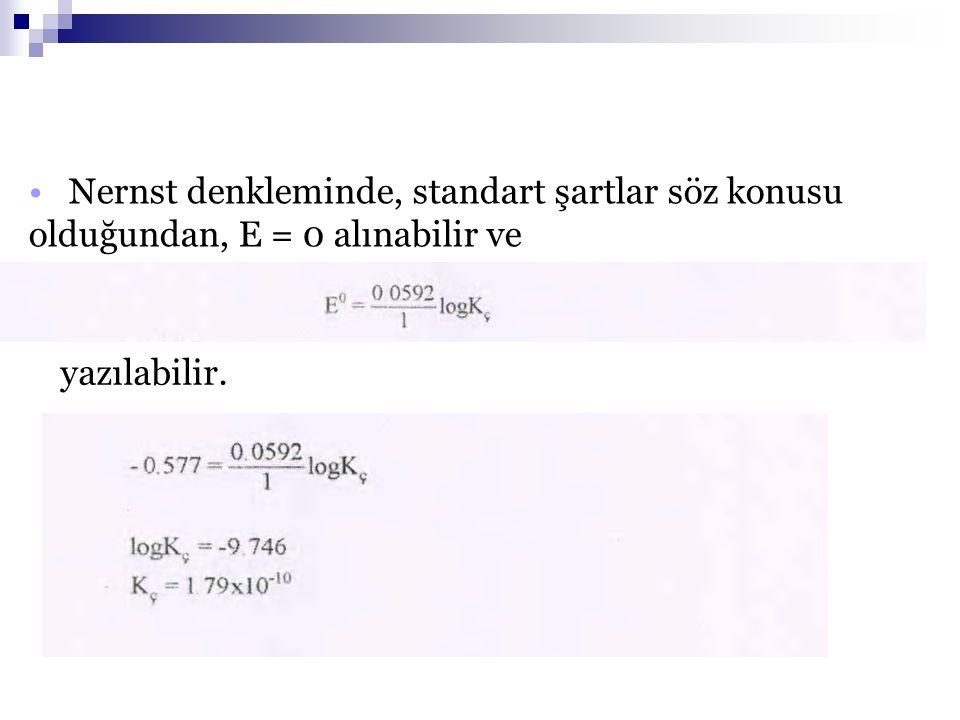 28.04.2017 Nernst denkleminde, standart şartlar söz konusu olduğundan, E = 0 alınabilir ve. yazılabilir.