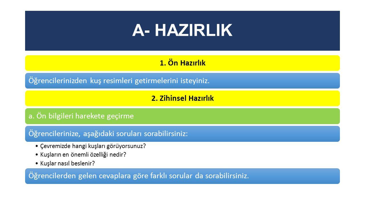 A- HAZIRLIK 1. Ön Hazırlık