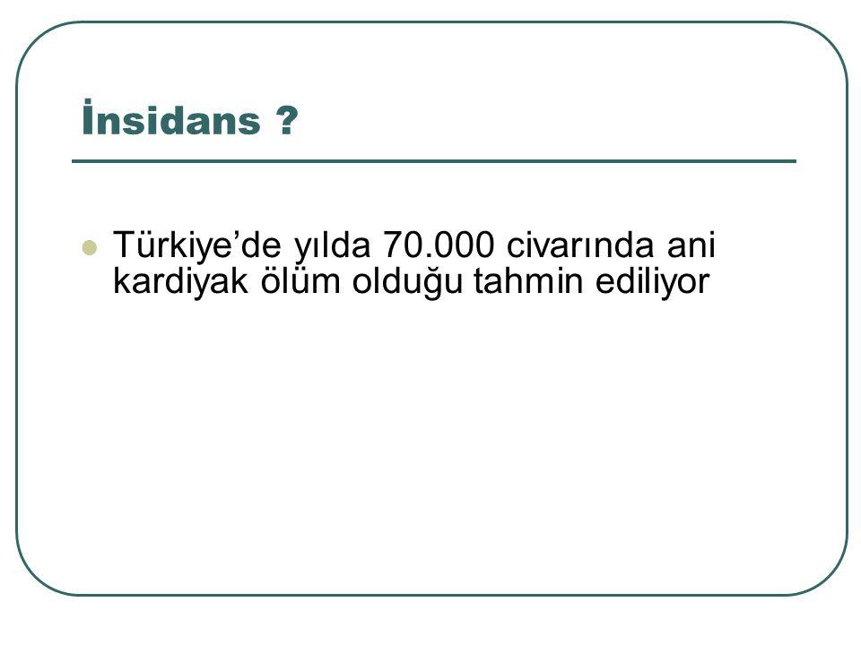 İnsidans Türkiye'de yılda 70.000 civarında ani kardiyak ölüm olduğu tahmin ediliyor