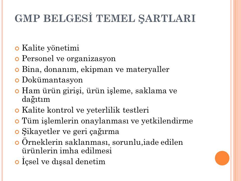 GMP BELGESİ TEMEL ŞARTLARI