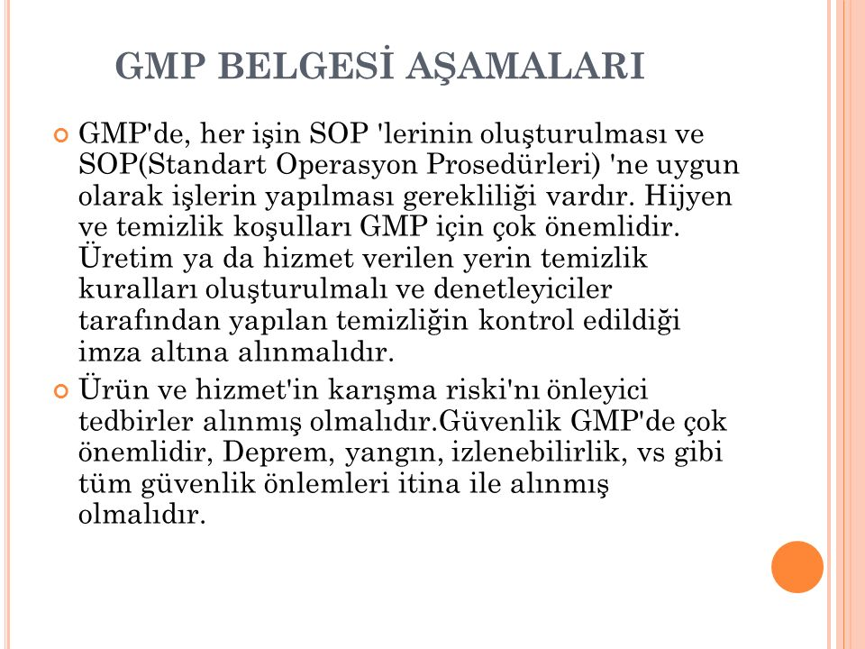 GMP BELGESİ AŞAMALARI