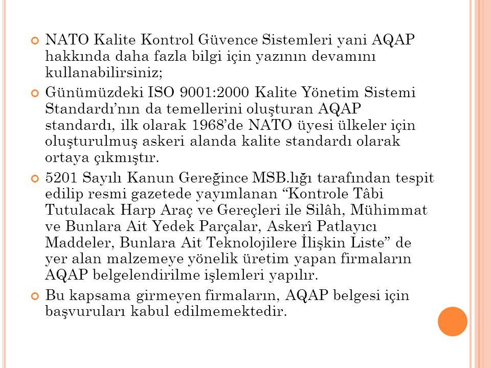 NATO Kalite Kontrol Güvence Sistemleri yani AQAP hakkında daha fazla bilgi için yazının devamını kullanabilirsiniz;