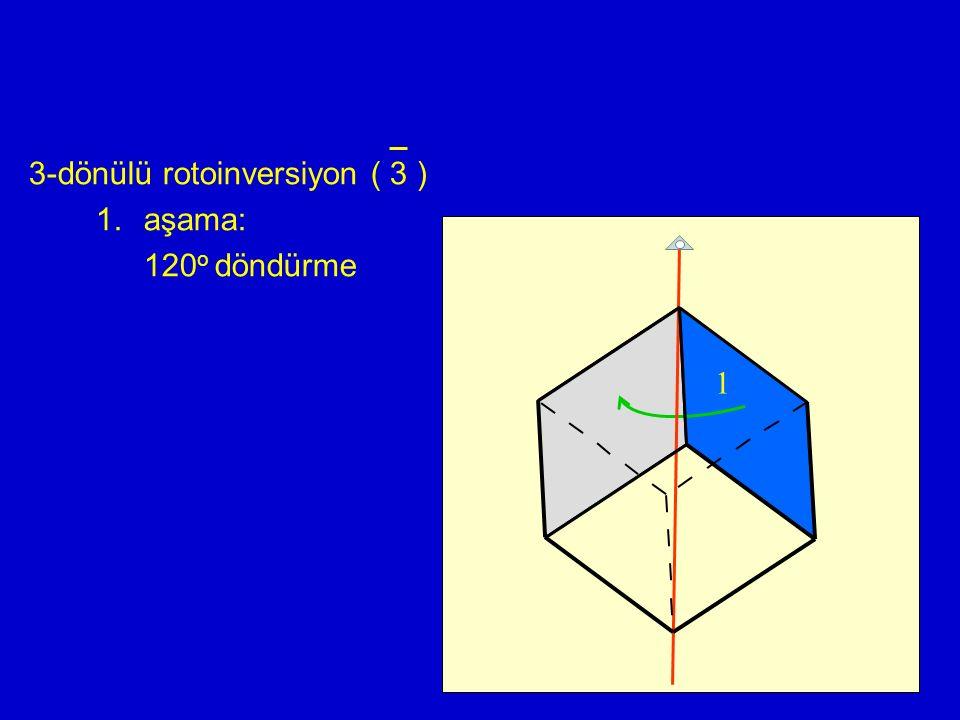 3-dönülü rotoinversiyon ( 3 ) aşama: 120o döndürme