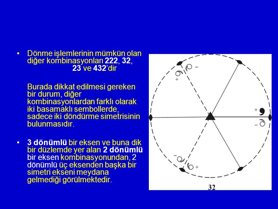 Dönme işlemlerinin mümkün olan diğer kombinasyonları 222, 32,