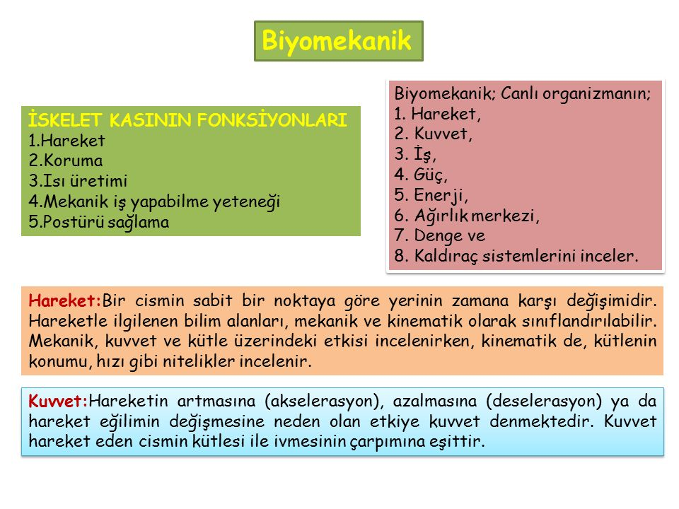 Biyomekanik Biyomekanik; Canlı organizmanın; 1. Hareket, 2. Kuvvet,