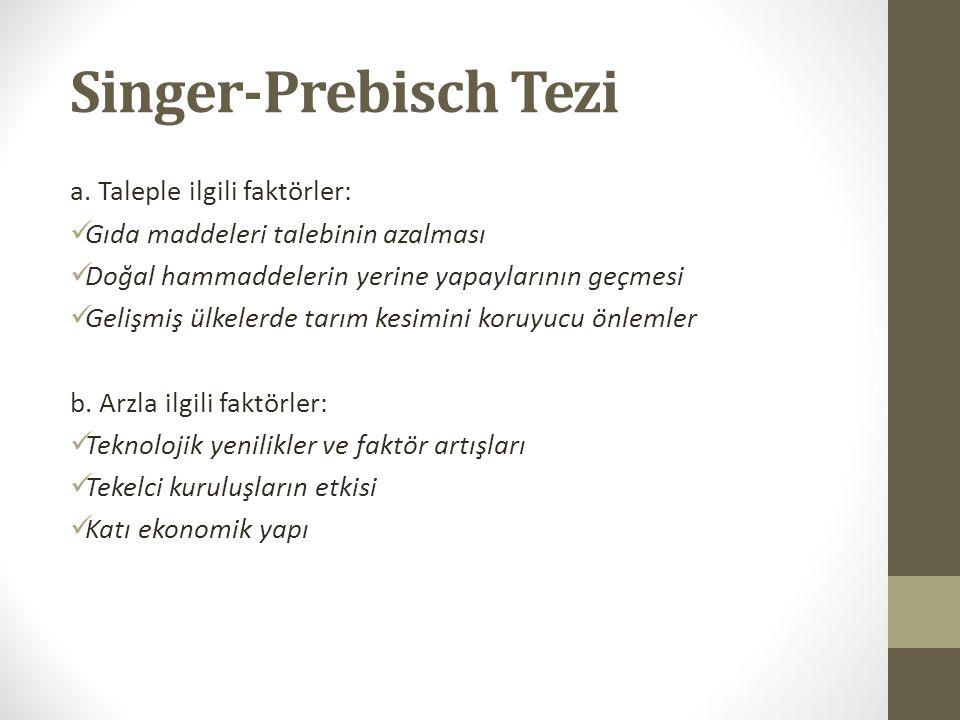 Singer-Prebisch Tezi a. Taleple ilgili faktörler: