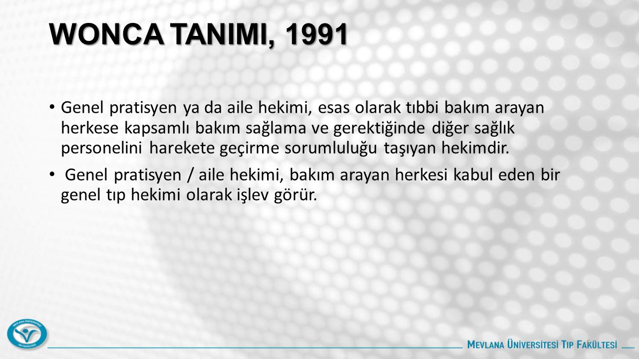 WONCA TANIMI, 1991
