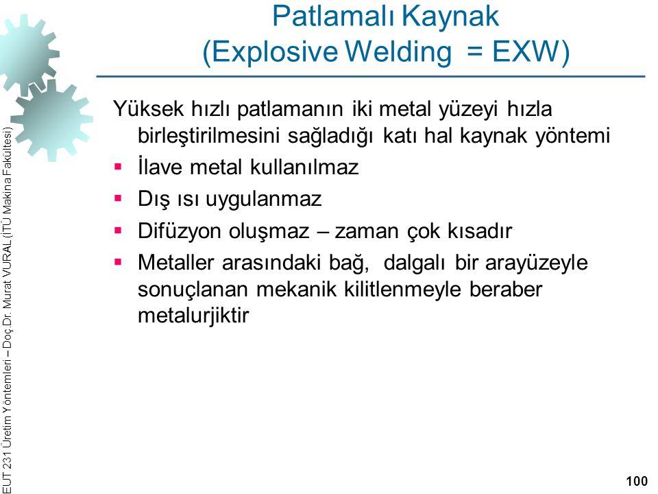 Patlamalı Kaynak (Explosive Welding = EXW)