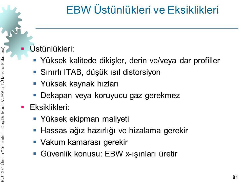 EBW Üstünlükleri ve Eksiklikleri