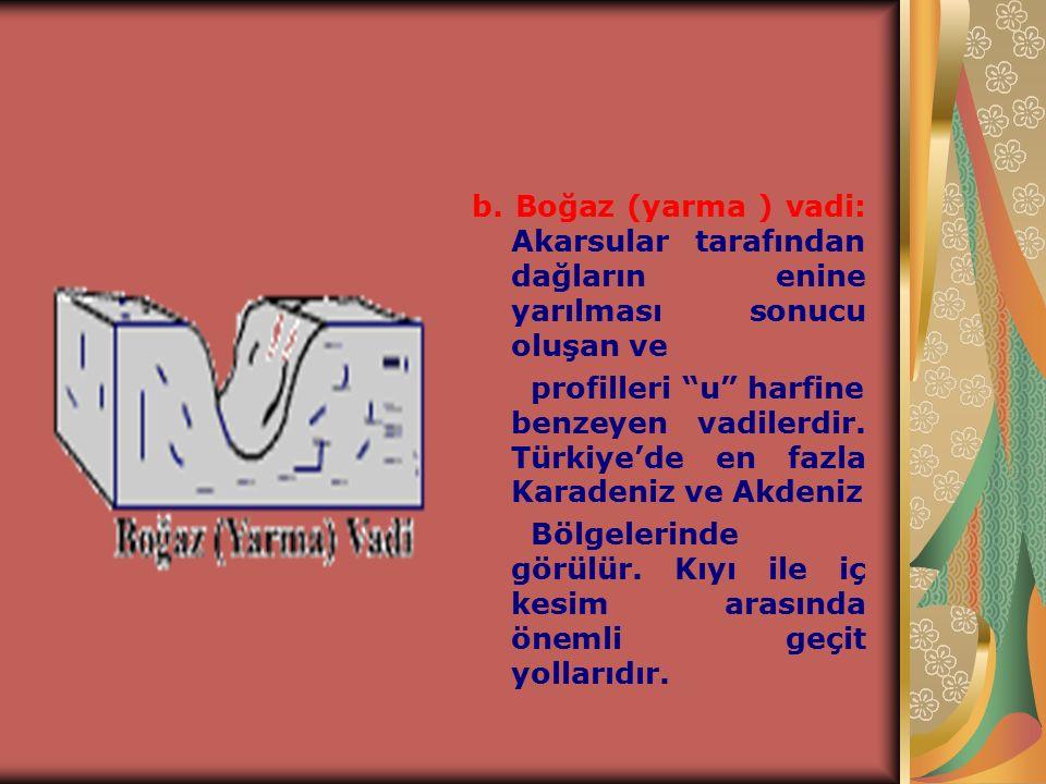 b. Boğaz (yarma ) vadi: Akarsular tarafından dağların enine yarılması sonucu oluşan ve