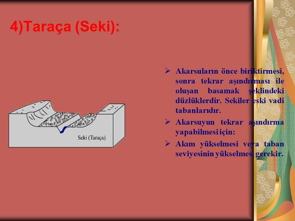 4)Taraça (Seki): Akarsuların önce biriktirmesi, sonra tekrar aşındırması ile oluşan basamak şeklindeki düzlüklerdir. Sekiler eski vadi tabanlarıdır.