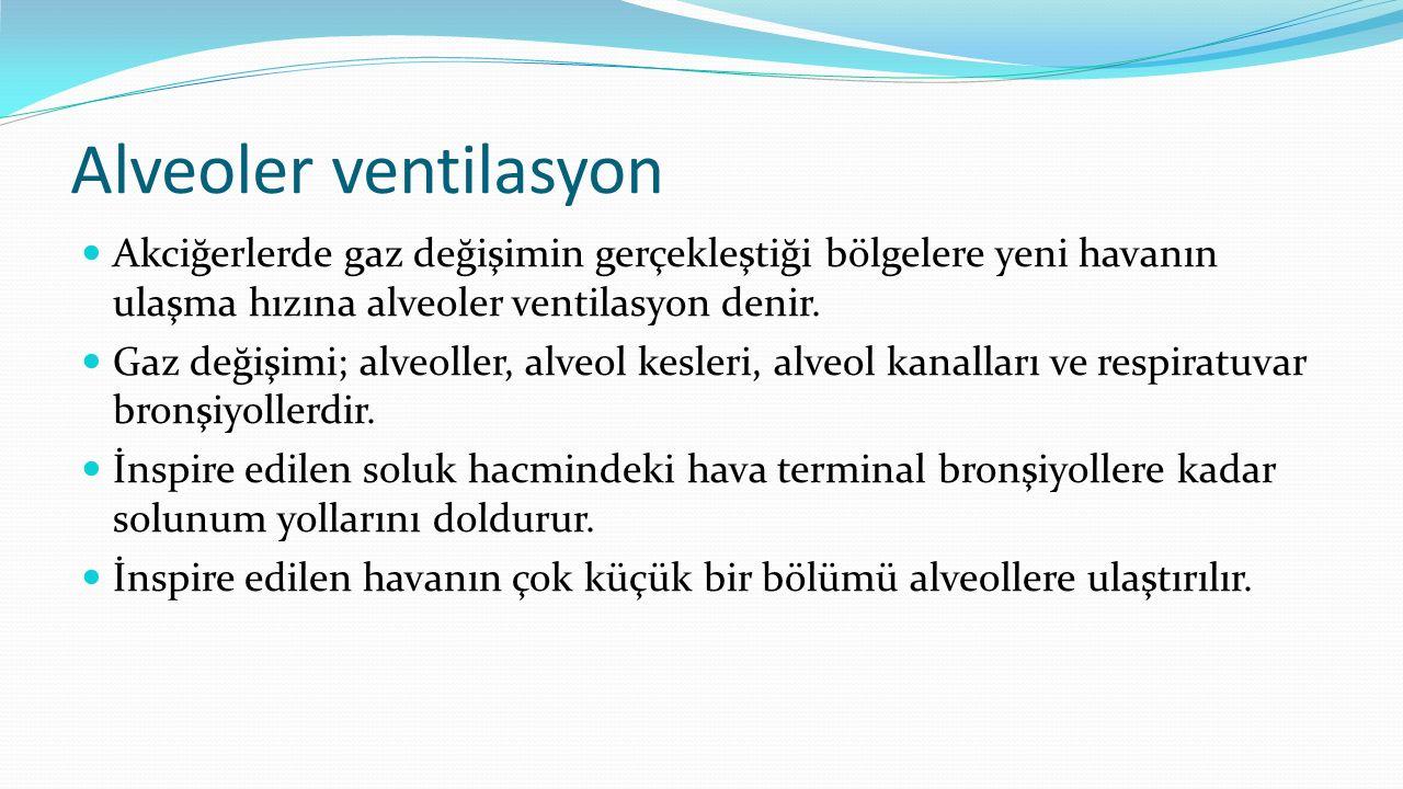 Alveoler ventilasyon Akciğerlerde gaz değişimin gerçekleştiği bölgelere yeni havanın ulaşma hızına alveoler ventilasyon denir.