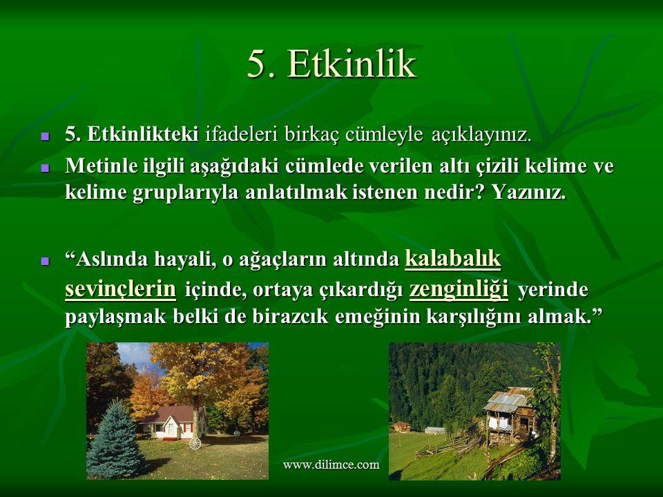 5. Etkinlik 5. Etkinlikteki ifadeleri birkaç cümleyle açıklayınız.