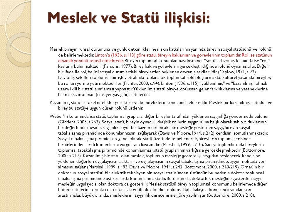 Meslek ve Statü ilişkisi: