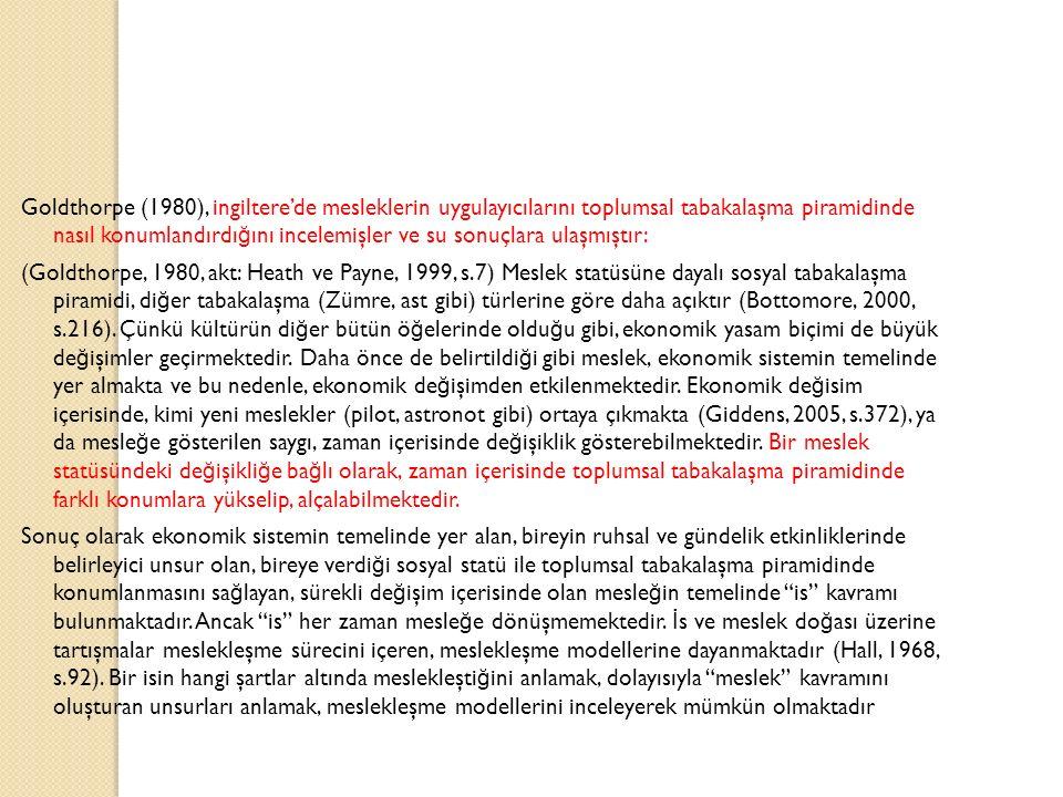 Goldthorpe (1980), ingiltere'de mesleklerin uygulayıcılarını toplumsal tabakalaşma piramidinde nasıl konumlandırdığını incelemişler ve su sonuçlara ulaşmıştır: (Goldthorpe, 1980, akt: Heath ve Payne, 1999, s.7) Meslek statüsüne dayalı sosyal tabakalaşma piramidi, diğer tabakalaşma (Zümre, ast gibi) türlerine göre daha açıktır (Bottomore, 2000, s.216).