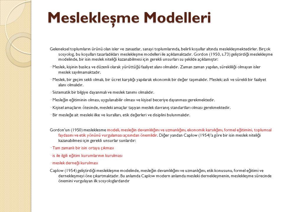 Meslekleşme Modelleri