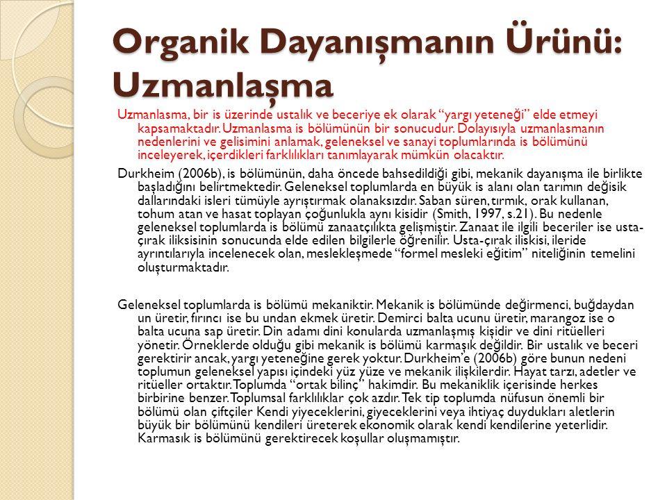 Organik Dayanışmanın Ürünü: Uzmanlaşma