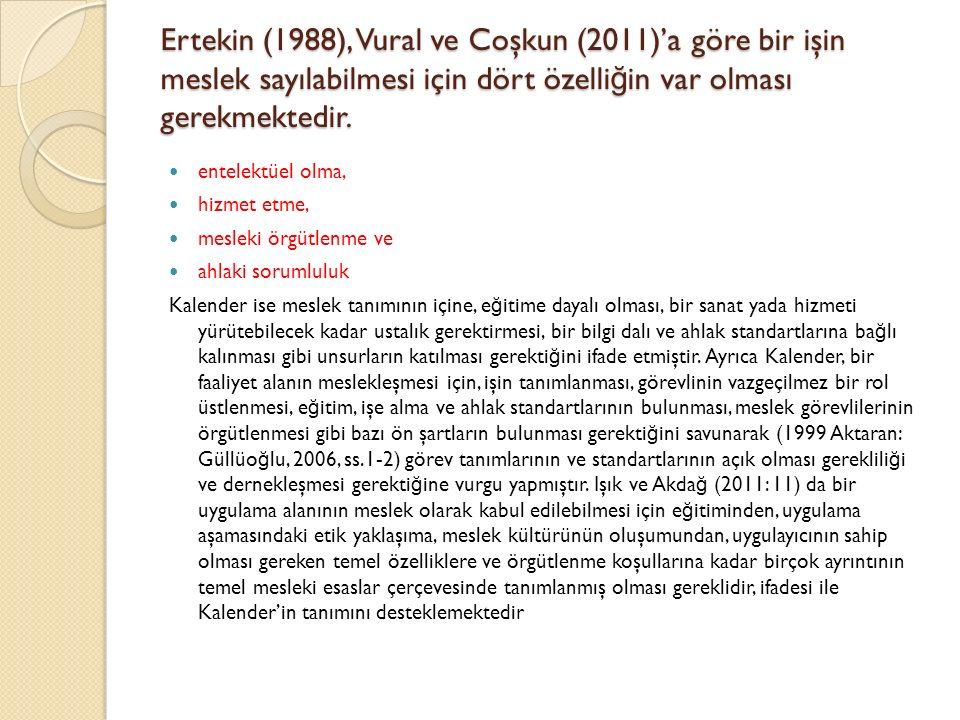 Ertekin (1988), Vural ve Coşkun (2011)'a göre bir işin meslek sayılabilmesi için dört özelliğin var olması gerekmektedir.