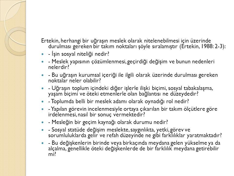 Ertekin, herhangi bir uğraşın meslek olarak nitelenebilmesi için üzerinde durulması gereken bir takım noktaları şöyle sıralamıştır (Ertekin, 1988: 2-3):