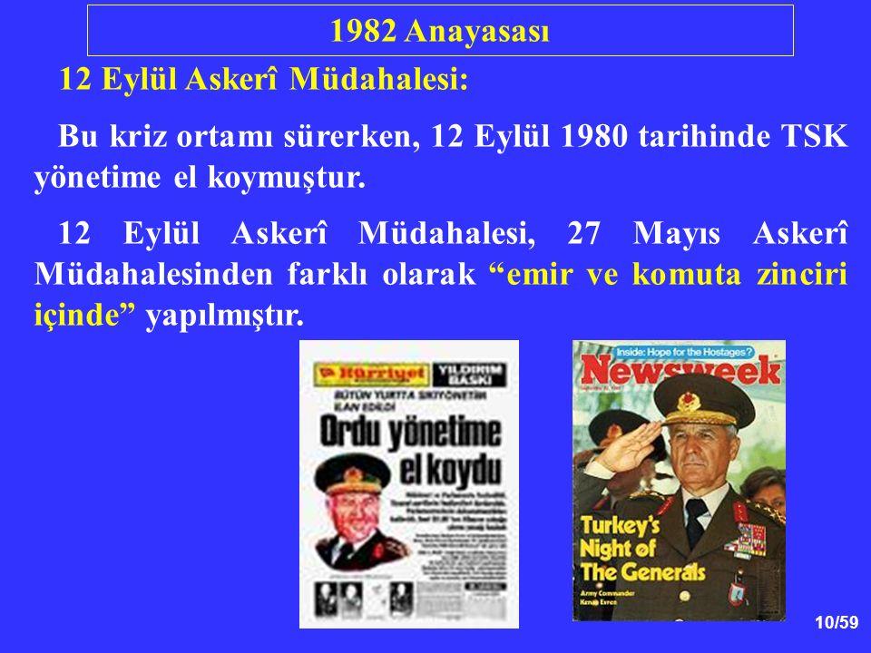 1982 Anayasası 12 Eylül Askerî Müdahalesi: Bu kriz ortamı sürerken, 12 Eylül 1980 tarihinde TSK yönetime el koymuştur.
