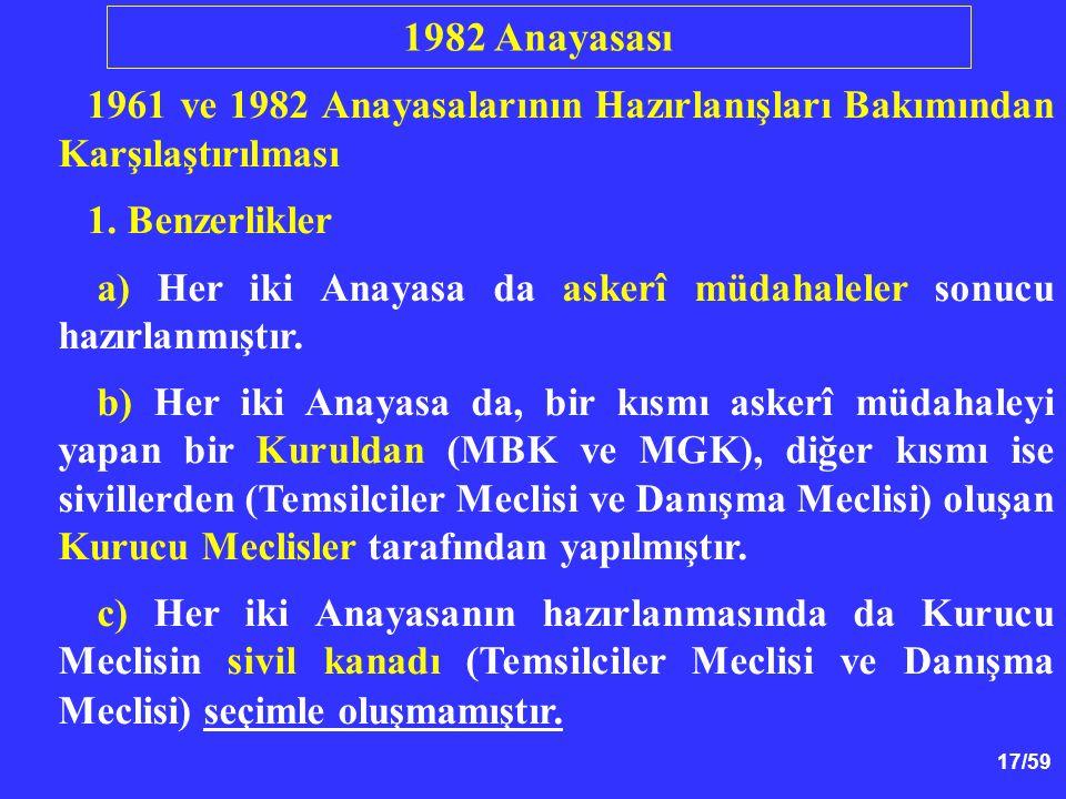 1982 Anayasası 1961 ve 1982 Anayasalarının Hazırlanışları Bakımından Karşılaştırılması. 1. Benzerlikler.