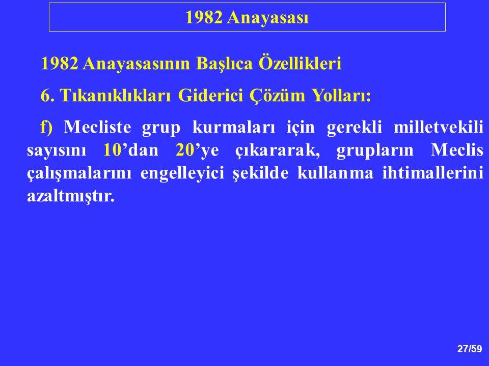 1982 Anayasası 1982 Anayasasının Başlıca Özellikleri. 6. Tıkanıklıkları Giderici Çözüm Yolları: