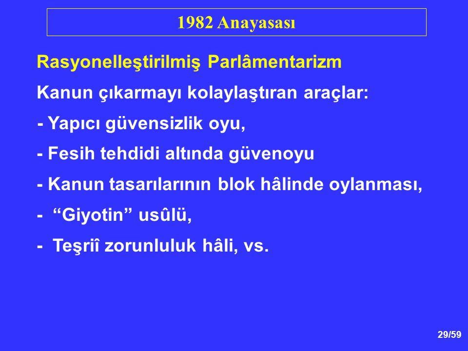 1982 Anayasası Rasyonelleştirilmiş Parlâmentarizm. Kanun çıkarmayı kolaylaştıran araçlar: - Yapıcı güvensizlik oyu,
