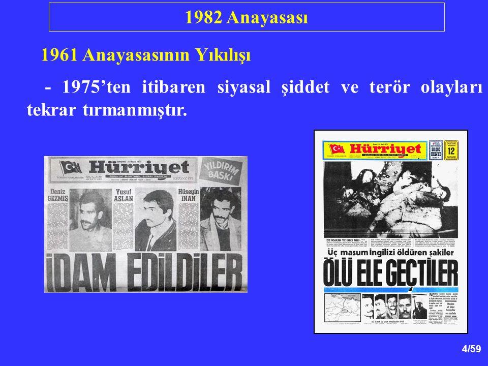 1982 Anayasası 1961 Anayasasının Yıkılışı.