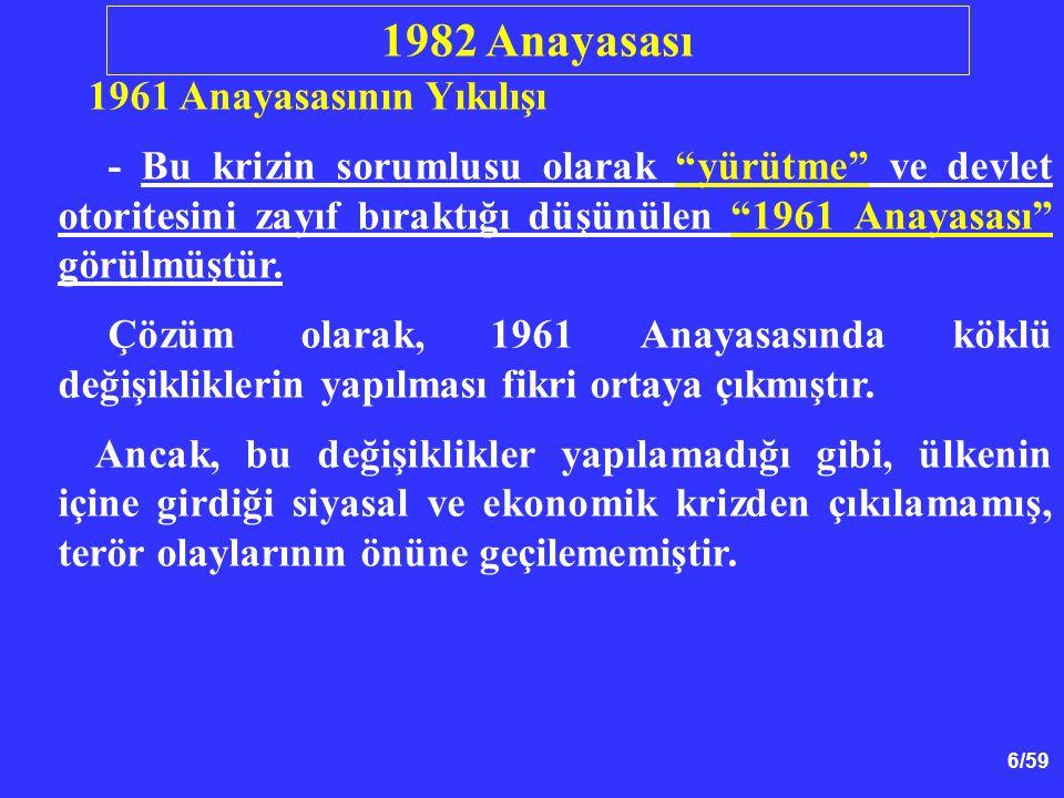 1982 Anayasası 1961 Anayasasının Yıkılışı