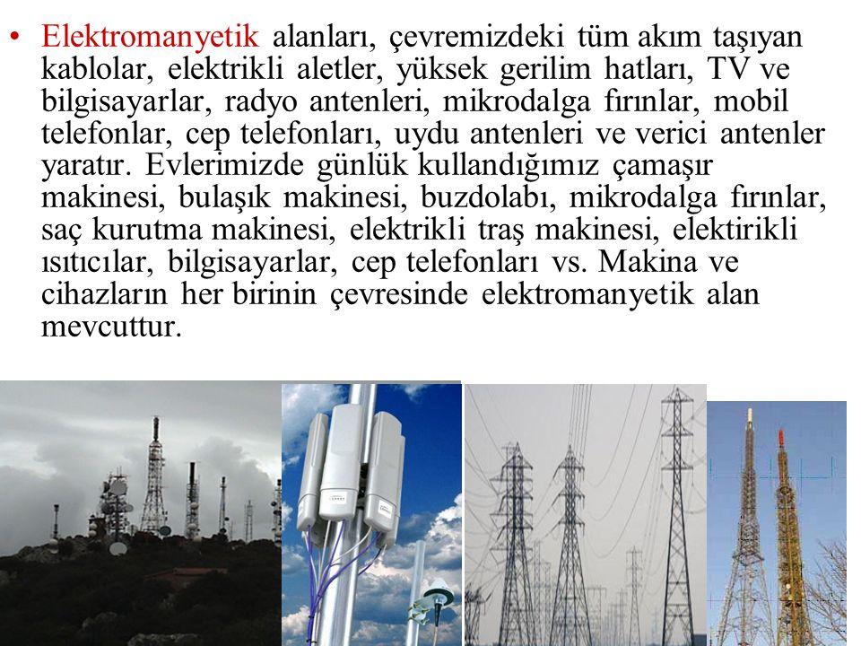 Elektromanyetik alanları, çevremizdeki tüm akım taşıyan kablolar, elektrikli aletler, yüksek gerilim hatları, TV ve bilgisayarlar, radyo antenleri, mikrodalga fırınlar, mobil telefonlar, cep telefonları, uydu antenleri ve verici antenler yaratır.