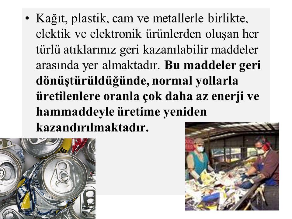 Kağıt, plastik, cam ve metallerle birlikte, elektik ve elektronik ürünlerden oluşan her türlü atıklarınız geri kazanılabilir maddeler arasında yer almaktadır.