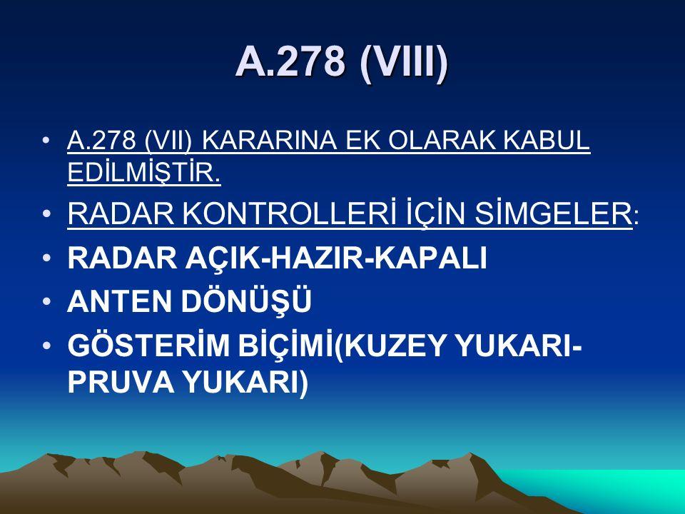A.278 (VIII) RADAR KONTROLLERİ İÇİN SİMGELER: RADAR AÇIK-HAZIR-KAPALI