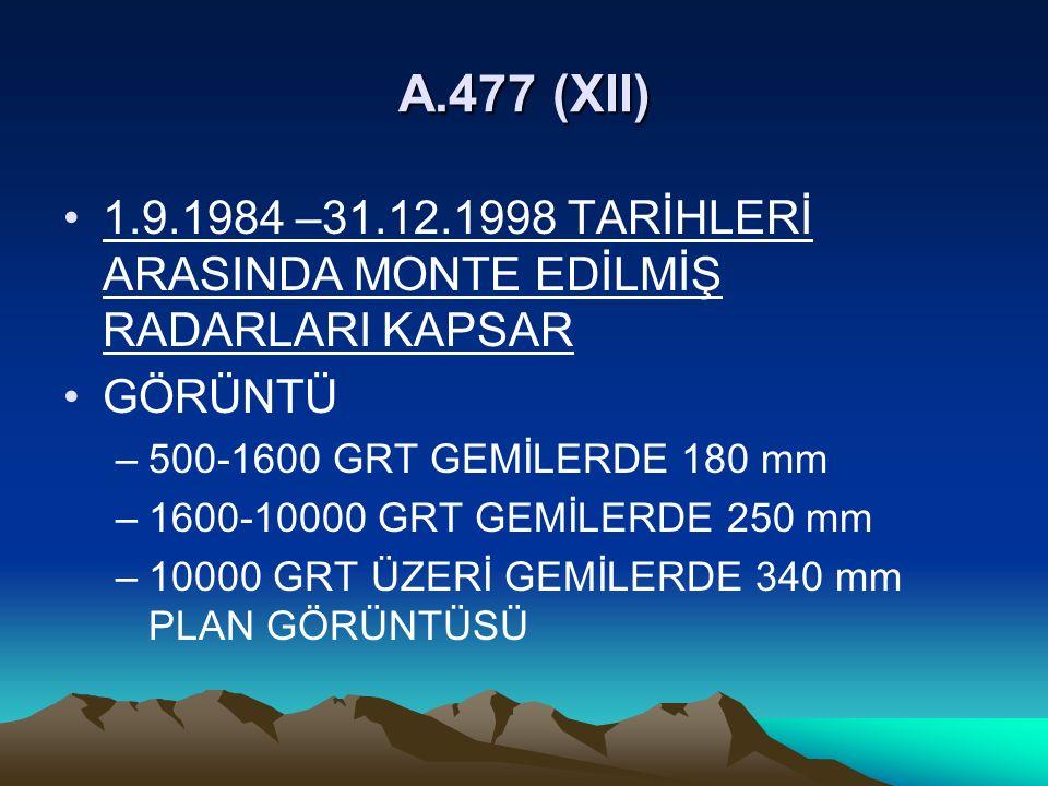 A.477 (XII) 1.9.1984 –31.12.1998 TARİHLERİ ARASINDA MONTE EDİLMİŞ RADARLARI KAPSAR. GÖRÜNTÜ. 500-1600 GRT GEMİLERDE 180 mm.