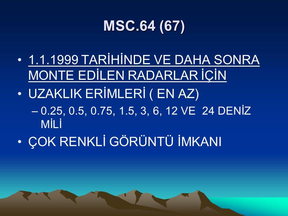 MSC.64 (67) 1.1.1999 TARİHİNDE VE DAHA SONRA MONTE EDİLEN RADARLAR İÇİN. UZAKLIK ERİMLERİ ( EN AZ)