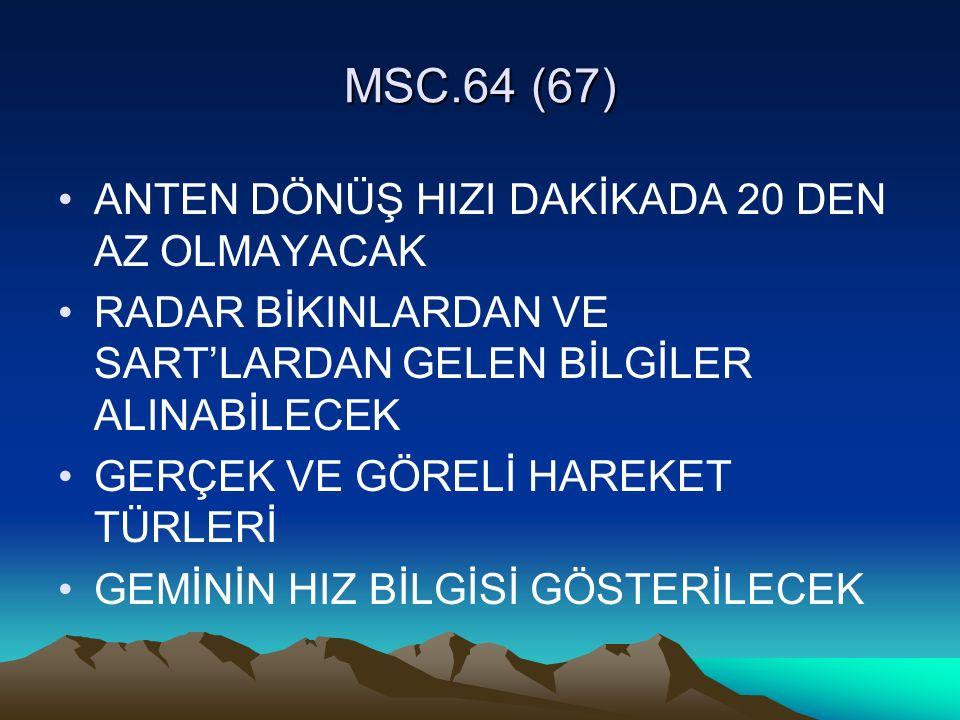 MSC.64 (67) ANTEN DÖNÜŞ HIZI DAKİKADA 20 DEN AZ OLMAYACAK
