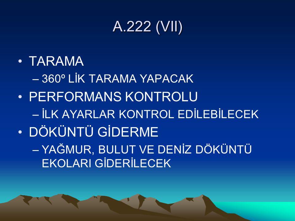 A.222 (VII) TARAMA PERFORMANS KONTROLU DÖKÜNTÜ GİDERME