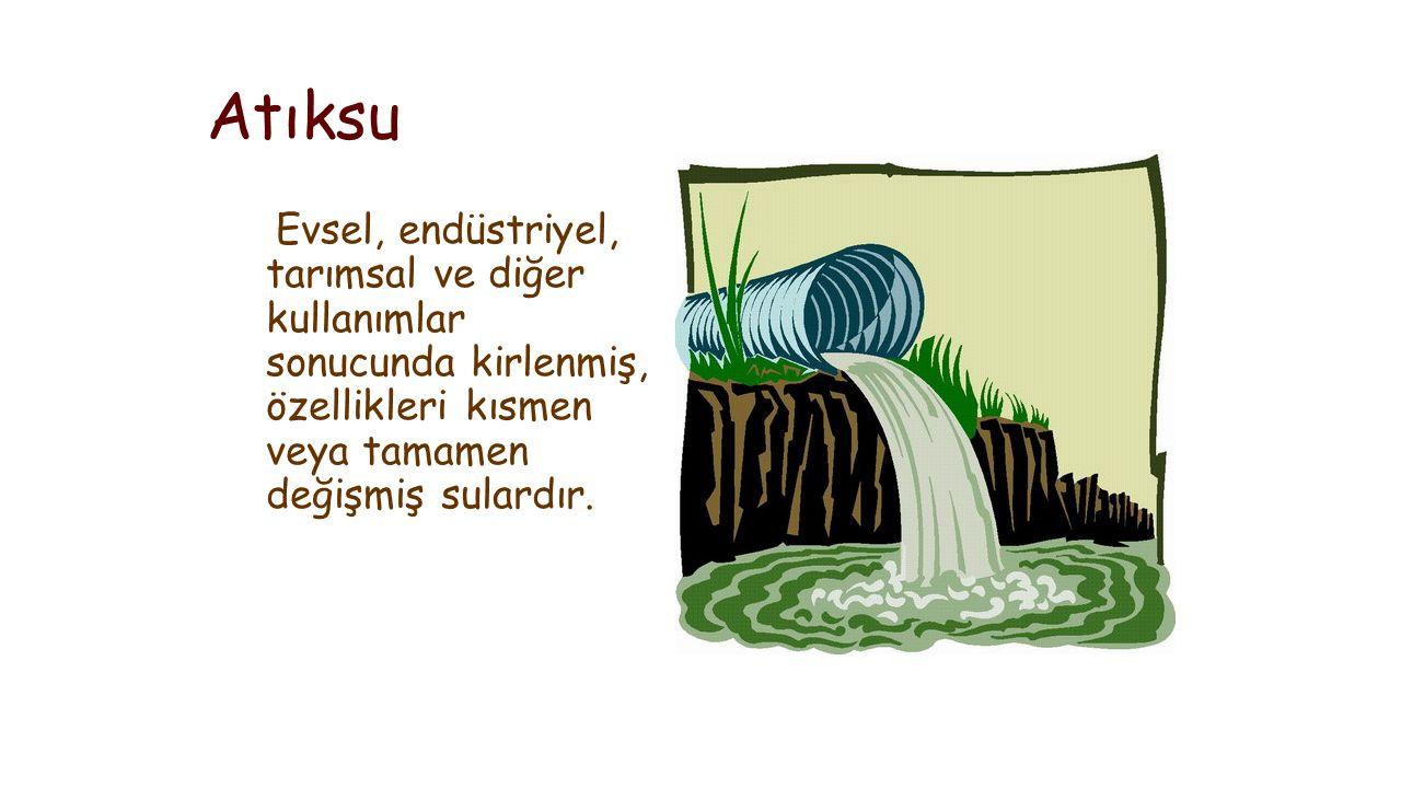 Atıksu Evsel, endüstriyel, tarımsal ve diğer kullanımlar sonucunda kirlenmiş, özellikleri kısmen veya tamamen değişmiş sulardır.