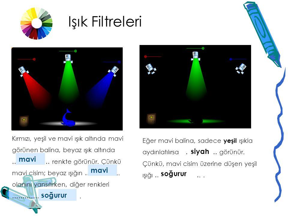 Işık Filtreleri siyah mavi mavi soğurur soğurur