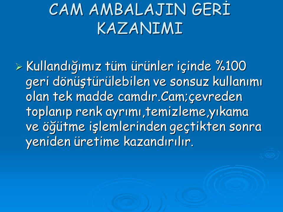 CAM AMBALAJIN GERİ KAZANIMI